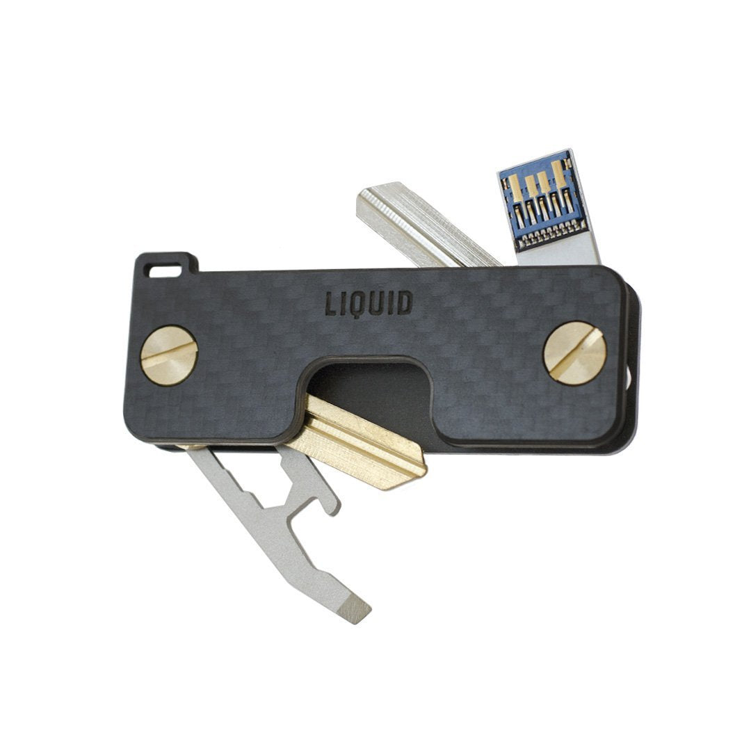 Liquid KeyCaddy Matte Black (Brass Screws) Key Organizer - Carbon Fibre