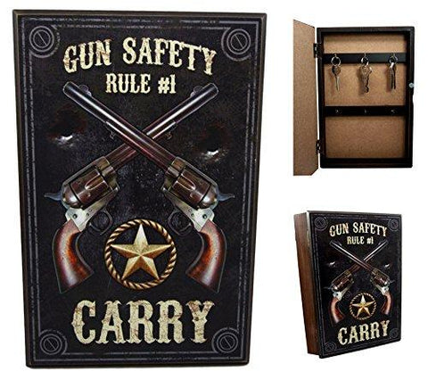Ebros Gift Western Dual Revolver Gun Carry Rule Secret Safe Book Shaped Multiple Keys Decorative Storage Organizer