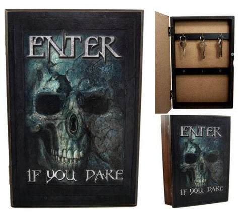 "Ebros Gift Death Labyrinth Ghost Skull Safe Book Shaped Multiple Keys Decorative Storage Organizer 11.75""H"