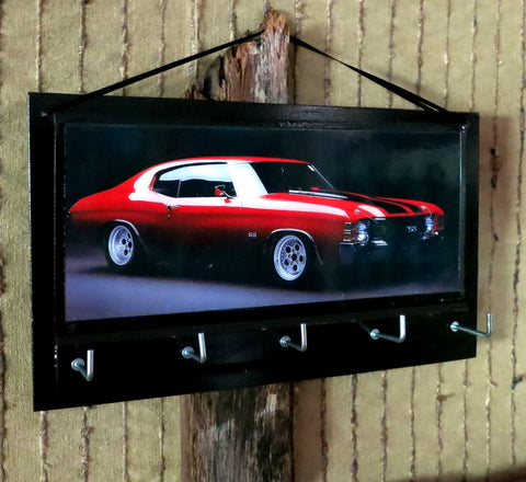 Red Muscle Car Print Key Organizer