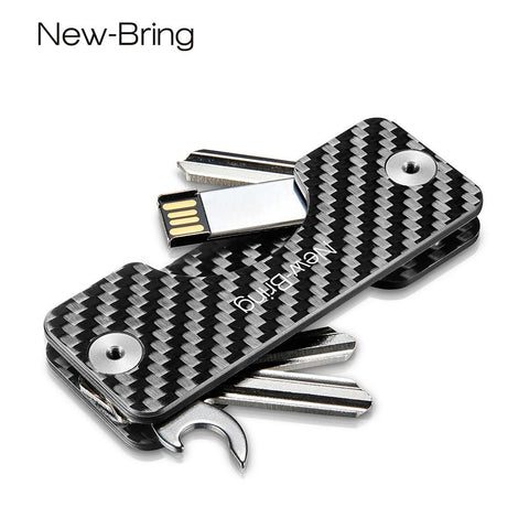 1 Pc Smart Holder Keychain Car Key Wallets Ring Collector Housekeeper Carbon Fiber Pocket Keys Organizer Smart