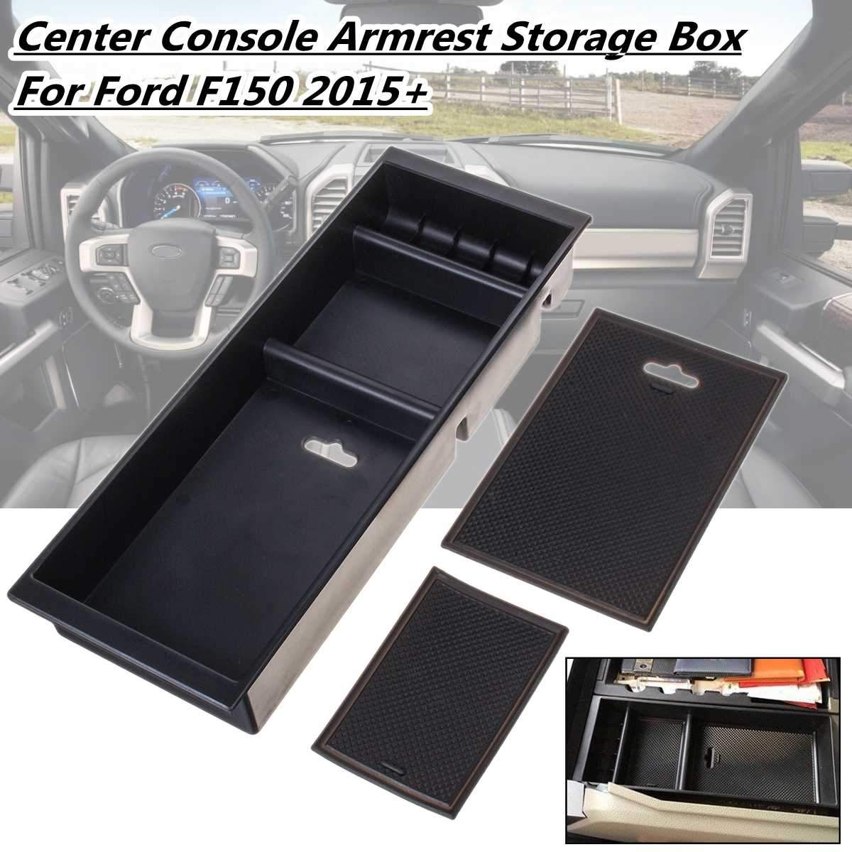 1Pcs Car Console Storage Armrest Center box For Ford F150 2015 2016 2017 2018 Accessoires Sowing Anti Slip Coin Key Organizer