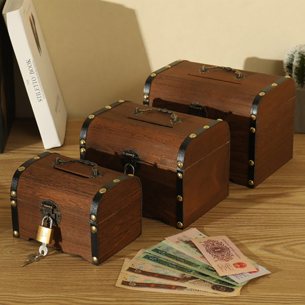 Wooden Piggy Bank Safe Money