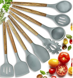Wooden Silicone Kitchen Utensils Set