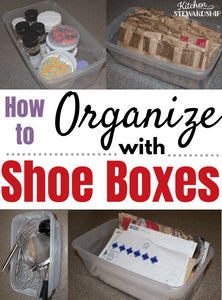 Katie's Note: I'm so happy to have Lisa Woodruff from Organize 365 to help you organize with shoe boxes in your kitchen and the rest of your house! Her shoe box organization ideas were a game changer for me!