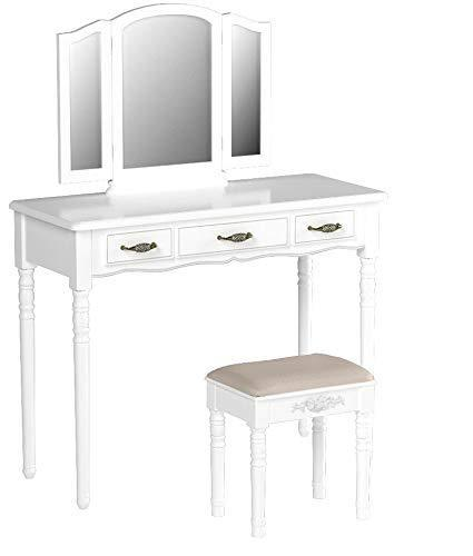 Buy songmics vanity set 3 large drawers tri folding mirror make up dressing table with cushioned stool easy assembly gift for mom white urdt18w