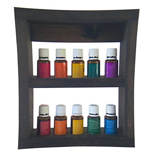10 Bottle Solid Pine Wooden Essential Oil Display Rack Wall Mounted Shelf