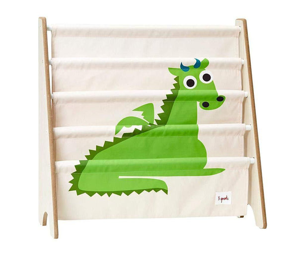 3 Sprouts Book Rack – Kids Storage Shelf Organizer Baby Room Bookcase Furniture, Dragon/Green