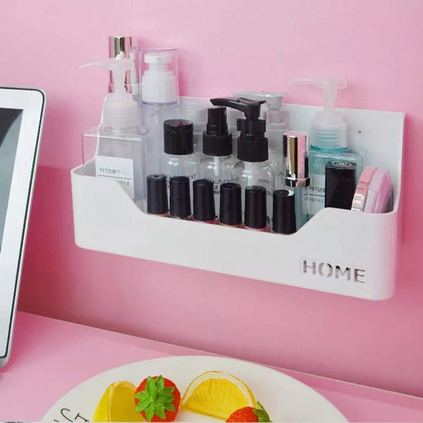 7U Bedside Shelf Organizer, Small White Plastic Wall Mounted Adhesive Storage Floating Shelf Caddy Box Holder for Phone, Remote, Earphone, Glasses, Pe