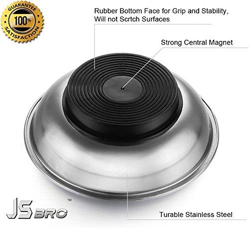 JSbro Stainless Steel Heavy Duty 4 Inches Round Magnetic Screws Tools Parts Tray Holder Pack of Two