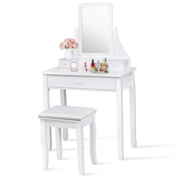 Buy now giantex bathroom vanity dressing table set 360 rotate mirror pine wood legs padded stool dressing table girls make up vanity set w stool rectangle mirror 3 drawers white