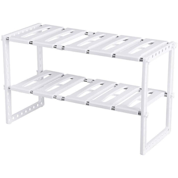 Under Sink Organizer 2 Tier Expandable Kitchen Bathroom Pantry Storage Shelf - Multi-Functional Adjustable Under Kitchen Sink Organization Storage Rack Heavy Duty - White