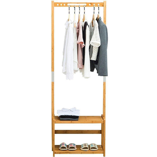 NNEWVANTE Coat Rack Bench Hall Trees Shoes Rack Entryway, 3 in 1 Shelf Organizer Shelf, Environmental Bamboo Furniture -Bamboo /29.5x13.8x70in