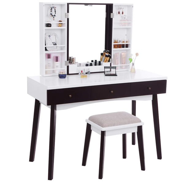 Shop bewishome vanity set with mirror cushioned stool storage shelves makeup organizer 3 drawers white makeup vanity desk dressing table fst05w
