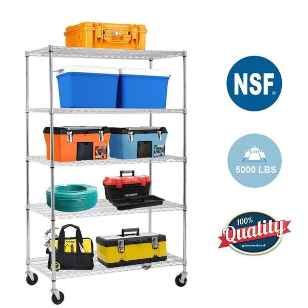 5-Wire Shelving Unit Steel Large Metal Shelf Organizer Garage Storage Shelves Heavy Duty NSF Certified Height Adjustable Commercial Grade Rack 5000 LBS Capacity on 4 Wheels 24D x 48W x 72H Zinc