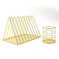 Comix Metal Gold Desktop Organizer with 1 Set Magazine File Rack with 9 Slots File Divider & 1 Set Gold Metal Pen/Pencil Holder with 9 Slots File Divider for Desktop Organizer (YS3293) (Gold)