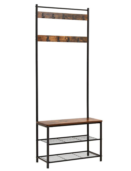 VASAGLE Industrial Coat Rack, Hall Tree Entryway Shoe Bench, Storage Shelf Organizer, Accent Furniture with Metal Frame UHSR41BX, Rustic Brown