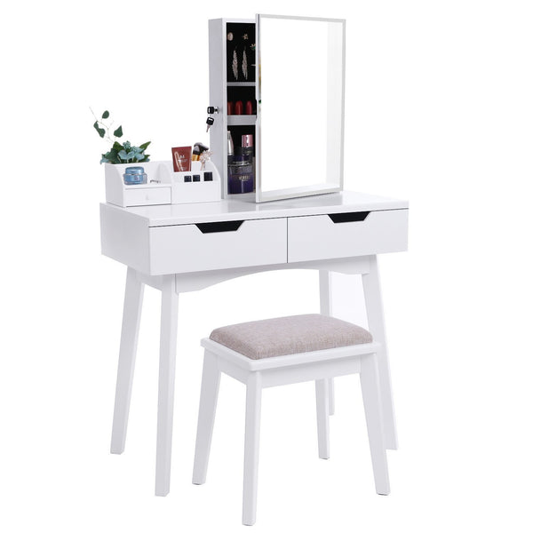 Shop for bewishome vanity set with mirror jewelry cabinet jewelry armoire makeup organizer cushioned stool 2 sliding drawers white makeup vanity desk dressing table fst04w