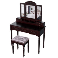 Discover the homecho vanity table set with 7 drawers and 6 makeup organizers removable tri folding mirror and 8 necklace hooks with cushioned stool dark espresso hmc md 010