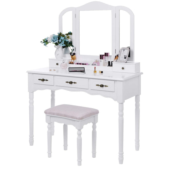 Amazon best bewishome vanity set makeup dressing table and cushioned stool large tri folding mirror 5 drawers 2 dividers desktop makeup organizer makeup vanity desk for girls women white fst06w