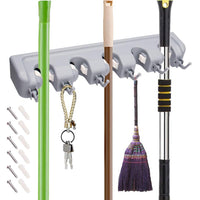 The best veeca skidproof mop and broom holder garden tool organizer with 5 position and 6 hooks wall mounted garage hanger for kitchen garage garden warehouse
