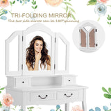 Best seller  charmaid vanity set with tri folding mirror and 4 drawers makeup dressing table with cushioned stool makeup vanity set for women girls bedroom makeup table and stool set white