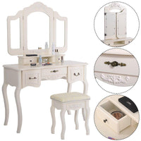 Best azadx makeup table set tri folding mirror vanity table set dressing table organizers with cushioned stool bedroom white 5 drawer