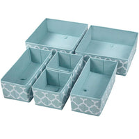 Homyfort Set of 6 Foldable Dresser Drawer Dividers, Cloth Storage Boxes, Closet Organizers for Underwear, Bras, Socks, Ties, Scarves (Blue Lantern Printing)