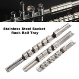 Yosoo Stainless Steel 8 Positions Socket Rack Storage Rail Tray Holder Tool Stand Shelf Organizer