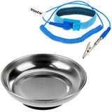 Vastar Round Stainless Steel Magnetic Tray, Magnetic Parts Holder, 4 Inch, and ESD Anti-Static Wrist Strap Components, Blue