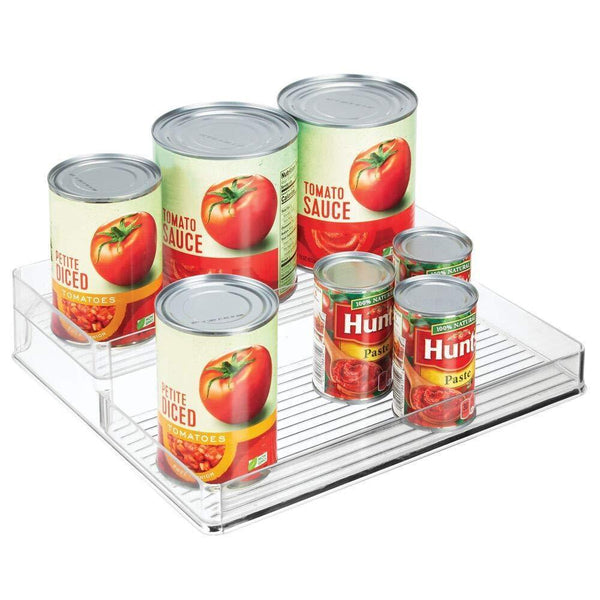 "mDesign Plastic Kitchen Food Storage Organizer Shelves, Spice Rack Holder for Cabinet, Cupboard, Countertop, Pantry - Holds Spices, Jars, Baking Supplies, Canned Food, Pasta - 2 Levels, 12"" W - Clear"