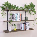 Discover puncia 48 industrial long pine solid wood wall floating storage shelf farmhouse kitchen bar display wooden wall bookcase tool shelves 48in x 12in x 0 8in x 3 tiers l brown