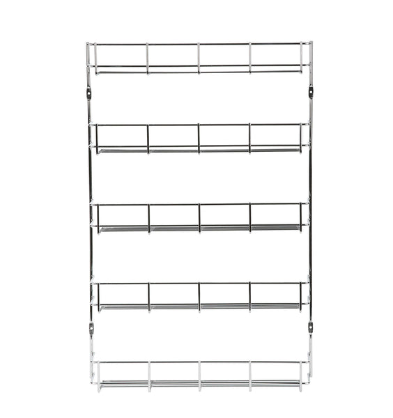 EXERZ Herb and Spice Rack 5 Tiers - Kitchen Cabinet Shelf Organizer for Jars, Perfect Space Saving and Storage. Wall mountable or Cupboard Door Fitting (Fixings Included) (5 Tiers EXSR004-5)
