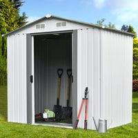 The best ainfox 8x8 storage shed with foundation kit outdoor steel toolsheds storage floor frame kit utility garden backyard lawn warm white 8x8 storage shed with floor base kit