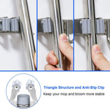 The best mop broom holder wall mounted 3 position 4 hooks saving space storage rack stainless steel tool holder ideal utility racks for room kitchen bathroom garden garage offices light grey