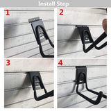 Try heavy duty slatwall bike hook storage system vertical bicycles rack for garden garage shed organization easily hang detach tools hanger black 2 pack 6 8 bike hook