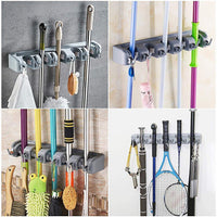 Top veeca skidproof mop and broom holder garden tool organizer with 5 position and 6 hooks wall mounted garage hanger for kitchen garage garden warehouse
