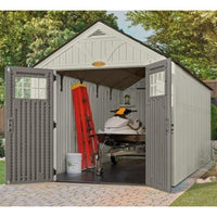 Organize with suncast 16 x 8 tremont storage shed outdoor storage for backyard tools and accessories all weather resin material transom windows and shingle style roof