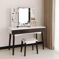 Top bewishome vanity set with mirror cushioned stool storage shelves makeup organizer 3 drawers white makeup vanity desk dressing table fst05w