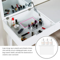 Buy now vanity table with large sized flip top mirror makeup dressing table with a cushion stool set writing desk with two drawers one small removable organizers easy assembly