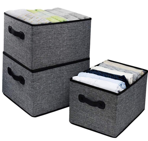 "Homyfort Cloth Collapsible Storage Bins Cubes 15.7""x11.8""x9.8"", Linen Fabric Basket Box Cubes Containers Organizer for Closet Shelves with Leather Handles Set of 3 Grey"
