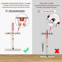 Featured yumore broom mop holder pack of 2 stainless steel heavy duty organizer for garden and cleaning tools screw and adhesive installation easy install space saving