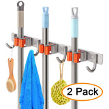 Discover the best yumore broom mop holder pack of 2 stainless steel heavy duty organizer for garden and cleaning tools screw and adhesive installation easy install space saving