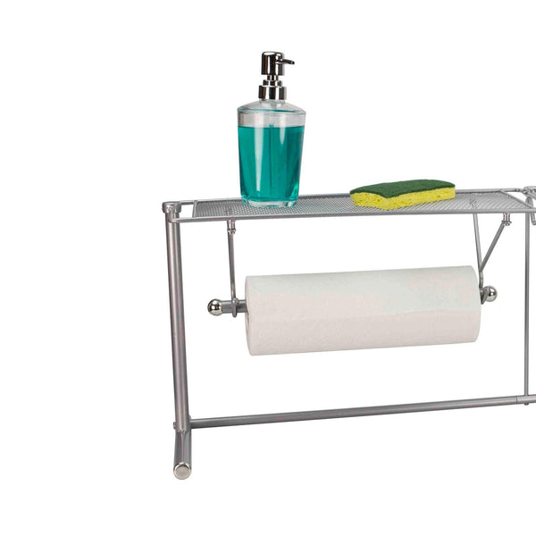 Home Basics over the Sink Stainless Steel Kitchen Station Dish Rack Paper Towel Dispenser Organizer