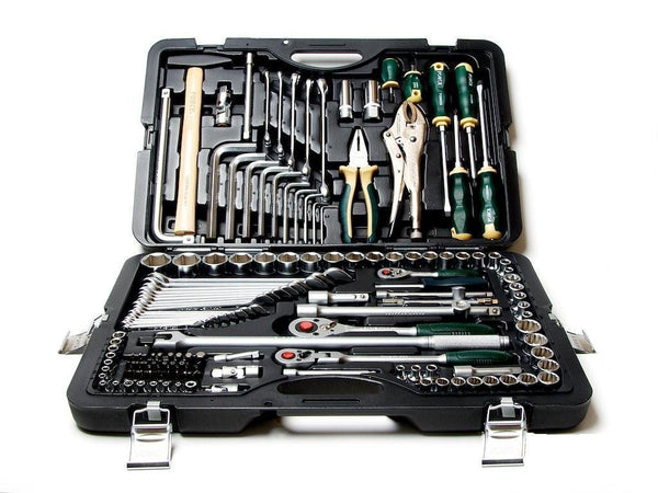 Buy force taiwan 41421 master combination automotive mechanic home garage professional heavy duty tool set 142 pc cr v steel 1 4 3 8 1 2 drive ratchet