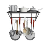 Homevol Kitchen Wall Mounted Pot Rack with 10 Hooks, Multi-Functional Storage Rack Shelf Organizer Ideal for Bathroom, Household Items and Kitchen Cookware/Utensils/Pans/Books