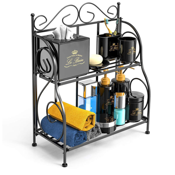 F-color Bathroom Countertop Organizer, 2 Tier Collapsible Kitchen Counter Spice Rack Jars Bottle Shelf Organizer Rack, Black