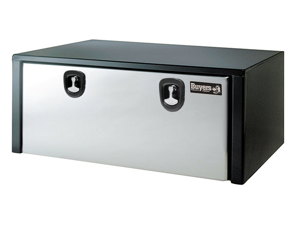 Buyers Products Black Steel Underbody Truck Box w/Stainless Steel Door (24x24x60 Inch)
