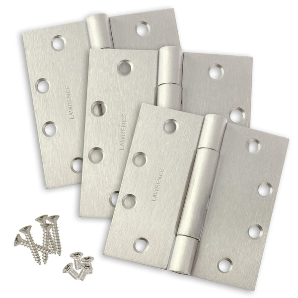 "Commercial Stainless Steel Door Hinges, Concealed Bearing, Satin Stainless Steel (US32D), 4.5"" x 4.5"", 3 Pack, by Lawrence Hardware"