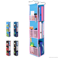 3 Shelf Hanging Locker Organizer for School, Gym, Work, Storage - Upgraded | Abra Company | Eco-Friendly Fabric Healthy for Children | Adjustable School Locker Shelf from 3 to 2 Shelves (Blue/Pink)